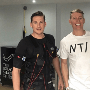 Lee Ryan trains using EMS fitness technology.