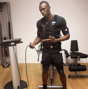usain bolt with an ems suit