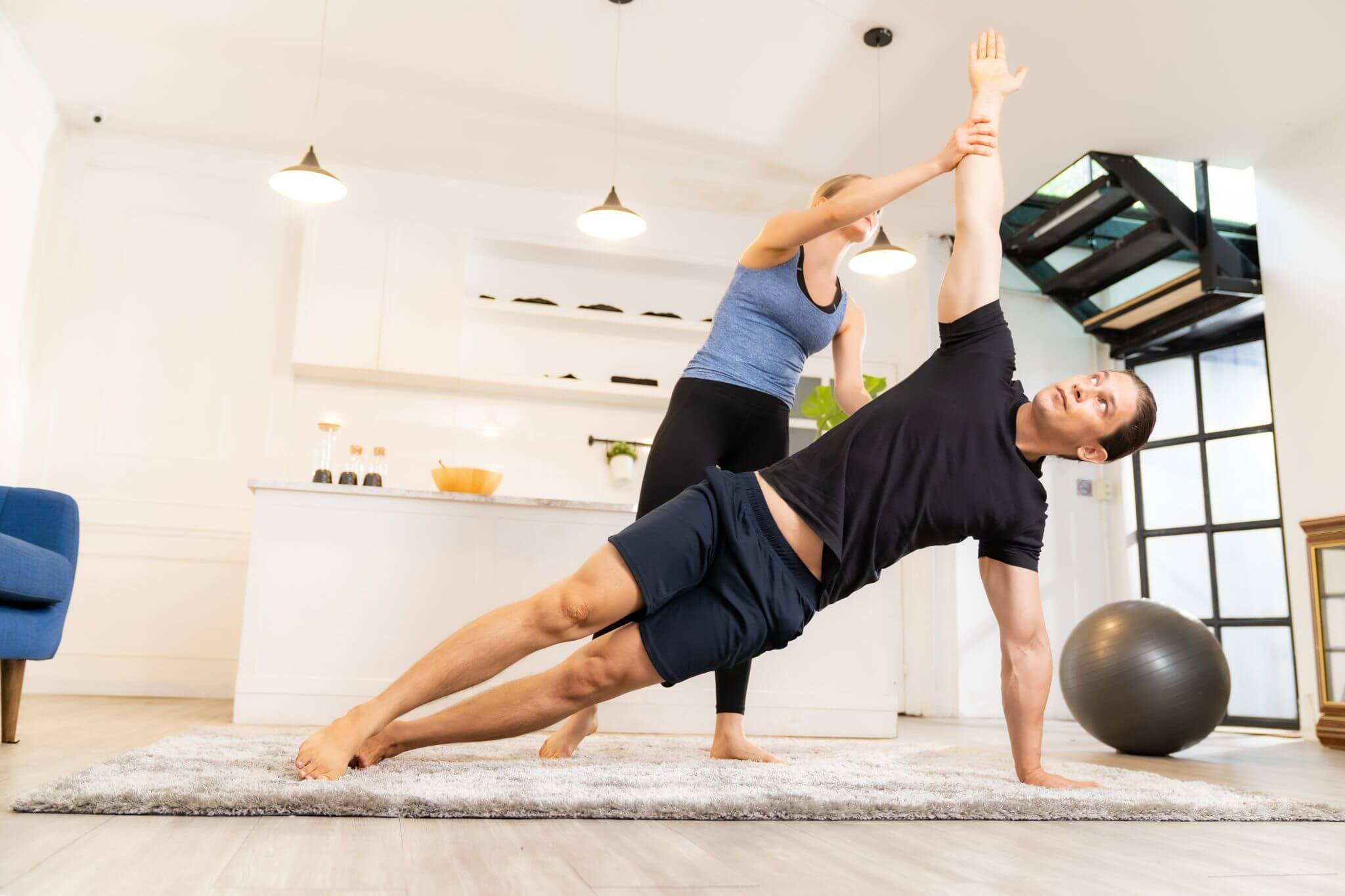 yoga training at home with personal trainer