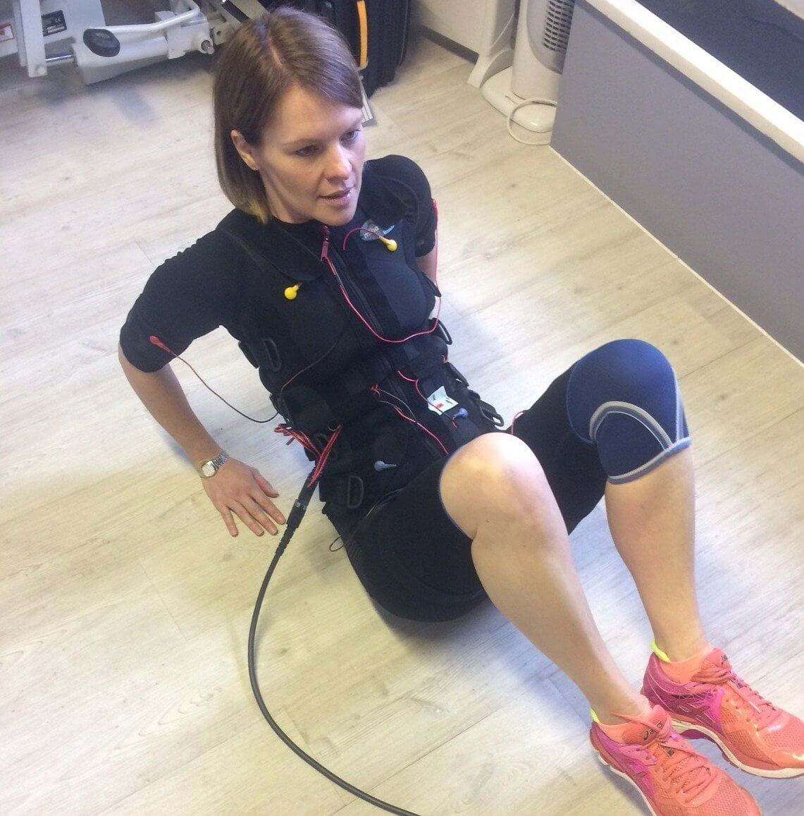 woman with the electrode pads
